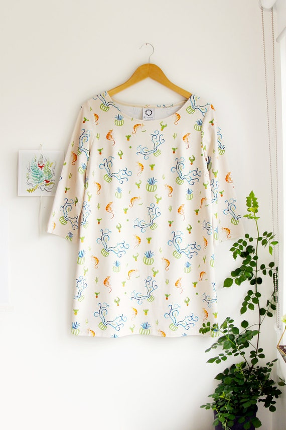 Cats and Cactus Shift Dress with 3/4 length sleeves