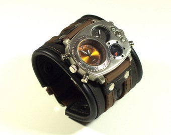 Steampunk Watch Riveted black and brown Leather Cuff, Men's Leather Cuff Watch, Men's Gift, Anniversary Gift,Custom Leather Watch Highlander