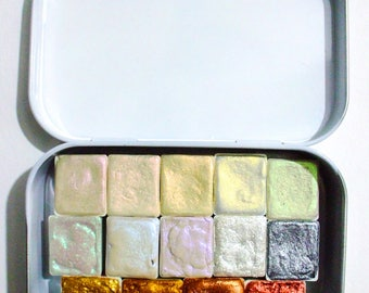 Shimmer Set - Watercolor Tin - Handmade Watercolor Paint  - Watercolor Set - Artist Grade Watercolor Set - Watercolor Palette - Paint set