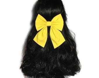 Yellow Hair Bow, Large Hair Bow, Yellow Cheer Bow, Handmade Hair Bow, Cosplay Anime Bow, Bow For Girls, Yellow Bow, Kawaii Yellow, LwT007