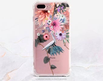 iPhone 7 Fall Floral Clear Rubber Case iPhone 7 Plus Clear Case iPhone 6 Clear Case iPhone 6S Case iPhone SE Case Samsung S7 Edge Case U20