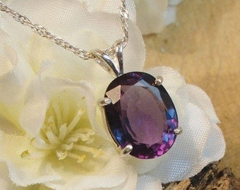 Certified Alexandrite Necklace, June Birthstone, Solid Sterling Silver, 5.90 Cts Facet 11.11 x 8.61 mm Natural Alexandrite Color Changing