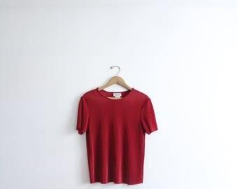 Crimson Pleated 90s Blouse