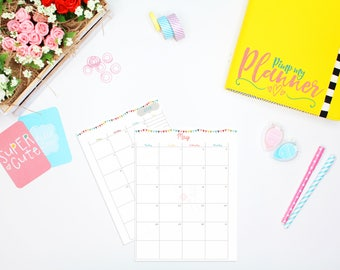 2018 A5 Planner inserts, Monthly inserts, Planner inserts 2018, Monthly Inserts 2018