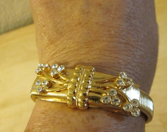 Jackie Kennedy Bracelet - 24K Gold Plated with Crystals, Box and Certificate - Sz 7