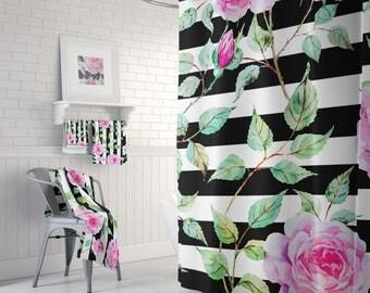 Stripe Curtain, Rose Shower Curtain, Beautiful Shower, Black White Bath, Bathroom Set, Pink Flowers, Floral Bath Curtain