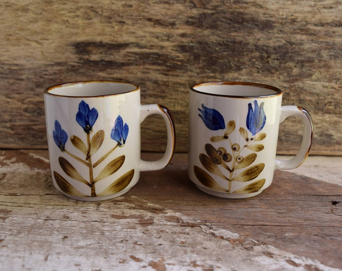 Featured listing image: Blue Flower Mugs - Vintage Coffee Mugs - Pair of mugs - Set of 2 Coffee mugs - Vintage Kitchen drinkware - Brown Kitchenware Vintage Floral