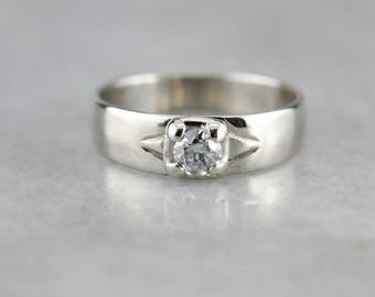Sleek Diamond White Gold Wedding Band 06EKWT-D