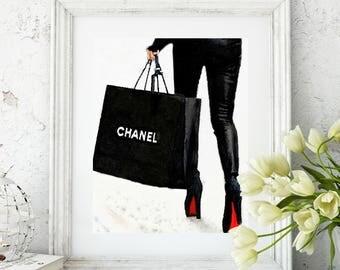 Coco Chanel, Chanel Shopping Bag, Louboutins, Chanel Art Print, Watercolor Art Print, Chanel Decor, Bedroom Bathroom Living Room Wall Art