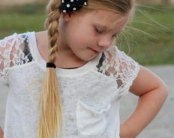 Black and White Dot Bow, Polka Dot Bow, Polka Dot Hair Bow, Polkadot Bow, Black and White Bow, Girls Hair Bow, Bows for Girls, School Bows