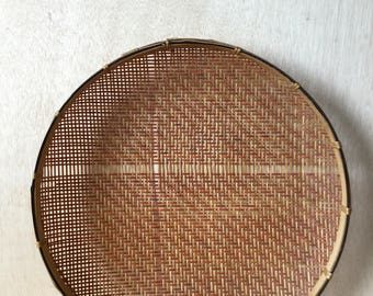 Hand Woven Bamboo Winnowing Basket Shallow Flat Bohemian Home Wall Decor