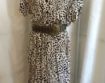 Vintage secretary dress 80s animal print dress Dawn Joy Fashions size 13/14