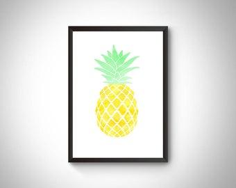 Pineapple wall art, Pineapple decor, Pineapple digital prints, Pineapple poster, Tropical decor, Tropical wall art, Kitchen decor,