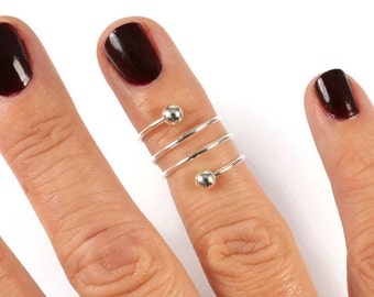 Sterling Silver Midi Ring, Sterling Silver Spiral Midi Rings, Sterling Silver Spiral Ring, Above Knuckle Ring, Silver Knuckle Ring