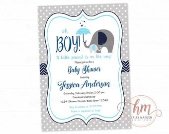 Elephant Baby Shower Invitation, Boy Elephant Invitation, Little Peanut baby sprinkle invitation, PRINTABLE FILE
