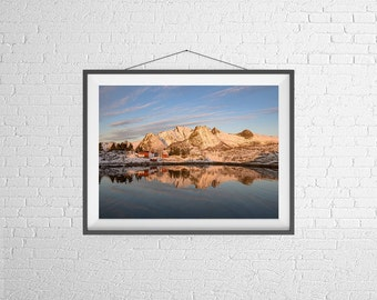 Fine Art Photography Print - Travel, Dawn, Landscape - Sunrise over the Fjords - Norway