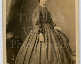CDV Carte de Visite Photo Victorian Standing Pretty Woman Portrait in Crinoline Hoop Dress - R Slingsby of Lincoln England - Antique Photo