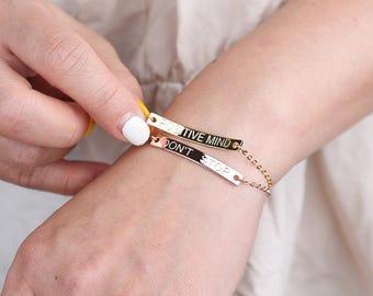 Bridesmaid Gift,Gold Bar Bracelet,Personalized bar bracelet,Custom bracelet,friendship bracelet,Coordinates bracelet,personalized bracelet