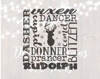 DIGITAL DOWNLOAD merry christmas svg - rudolph svg - reindeer svg -  subway art svg - santas reindeer svg - silhouette - cricut - cut file