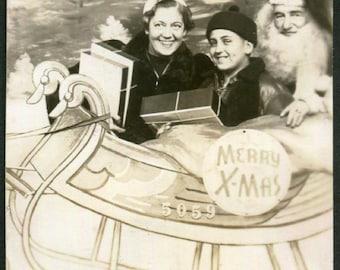Vintage Arcade Photo..Sleigh Ride with Santa, 1940's Original Found Photo, Vernacular Photography