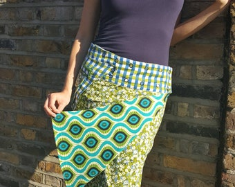 Free Size Reversible Wrap Cotton Knee Length Skirt on Blue and Green patterns Print