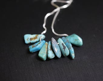 Turquoise Necklace - Genuine Turquoise Jewelry - Full Sterling Silver Rough Turquoise Chips Choker , Raw Turquoise Bar Necklace