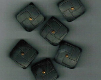 6 Vintage Wood Buttons Dark Gray