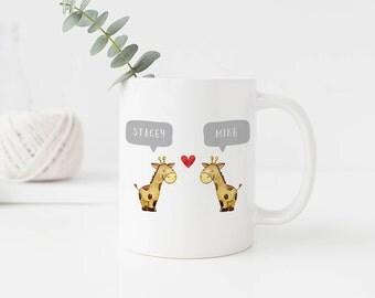 Giraffe Mug, Giraffe Coffee Mug, Animal Mug Custom, Name Mug, Custom Coffee Cup, Christmas Gifts for Him, Design 014