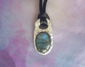 Reiki infused handcrafted one of a kind soldered labradorite choker necklace