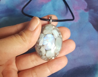 Reiki infused unique handcrafted Rainbow Moonstone Aquamarine and larimar resin necklace with copper, selenite, and quartz  *peace, calming*