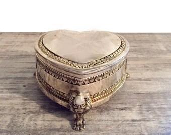 Silver-tone Heart Jewelry Box, EP Zinc, Footed Box, Black Velvet Keepsake Trinket Box, Jewlery Casket, Vanity Decor, Vintage Jewelry Box