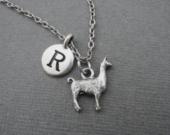 Llama Necklace, Llama Keychain, Llama Bangle Bracelet, Alpaca Necklace, Initial Necklace, South America American Andean Pack Animal Necklace