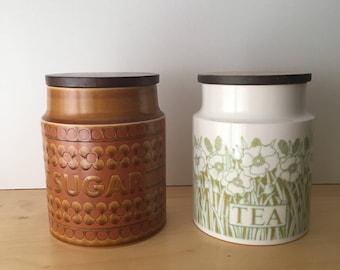 Large Vintage Hornsea Pottery Storage Jars- Saffron Sugar and Fleur Tea