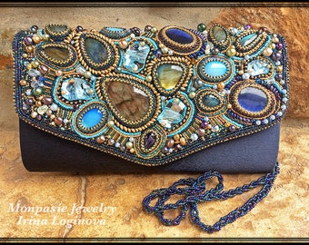 Bag! Labradorite and Swarovski crystals seed bead embroidered satin evening clutch bag. Bead embroidered bag