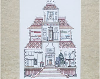 Gingerbread House featuring 10 Hidden Cats ~ A4 Art Print from Original Ink & Watercolour Piece