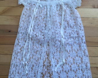 Vintage 1970s Baby Infant Girls White Lace Dress! Size 3-6 months