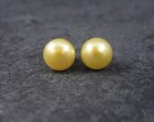 Vintage Sterling 8mm Yellow Pearl Stud Earrings