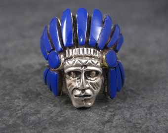 Vintage Sterling Lapis Indian Head Ring Size 7 Native American Headdress