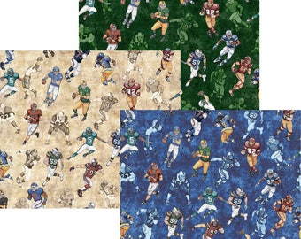 Football Players Fabric You Choose Size; 26175-G/E/B Green, Natural, Blue; Quilting Treasures; Gridiron; Football Fabric; Sports Fabric