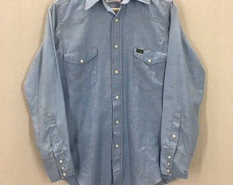Vintage 60's Wrangler Single Needle Pearl Snap Blue Chambray Western Shirt Sz 14.5x32