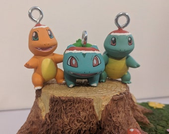 Pokemon Starters Santa Christmas ornaments (Baby Version) Charmander, Squirtle and Bulbasaur available