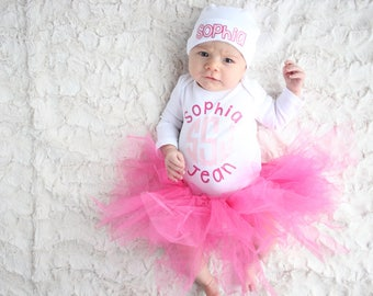 Girls Coming Home Outfit Monogram Baby Girl Outfit Monogram Baby Girl Set Baby Gift  Personalized Newborn Outfit Spring Coming Home Outfit