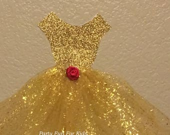 """11"""" Belle Of The Ball. Belle Gown In Gold, Red Rose In Satin, Beauty And The Beast Handmade Gold Ball Gown, Glitter Dress, Full Gold Dress"""