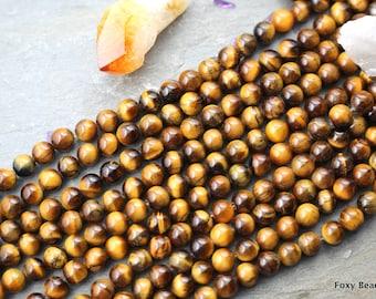 8mm Tiger Eye Beads, Full Strand, Semi Precious Stone Beads, Round Tiger Eye Loose Beads, Mala Beads USA Seller