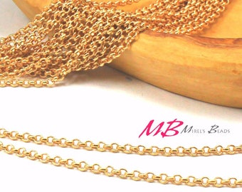 2.5mm Gold Plated Chain, Rolo Chain Spool, 10 Meters
