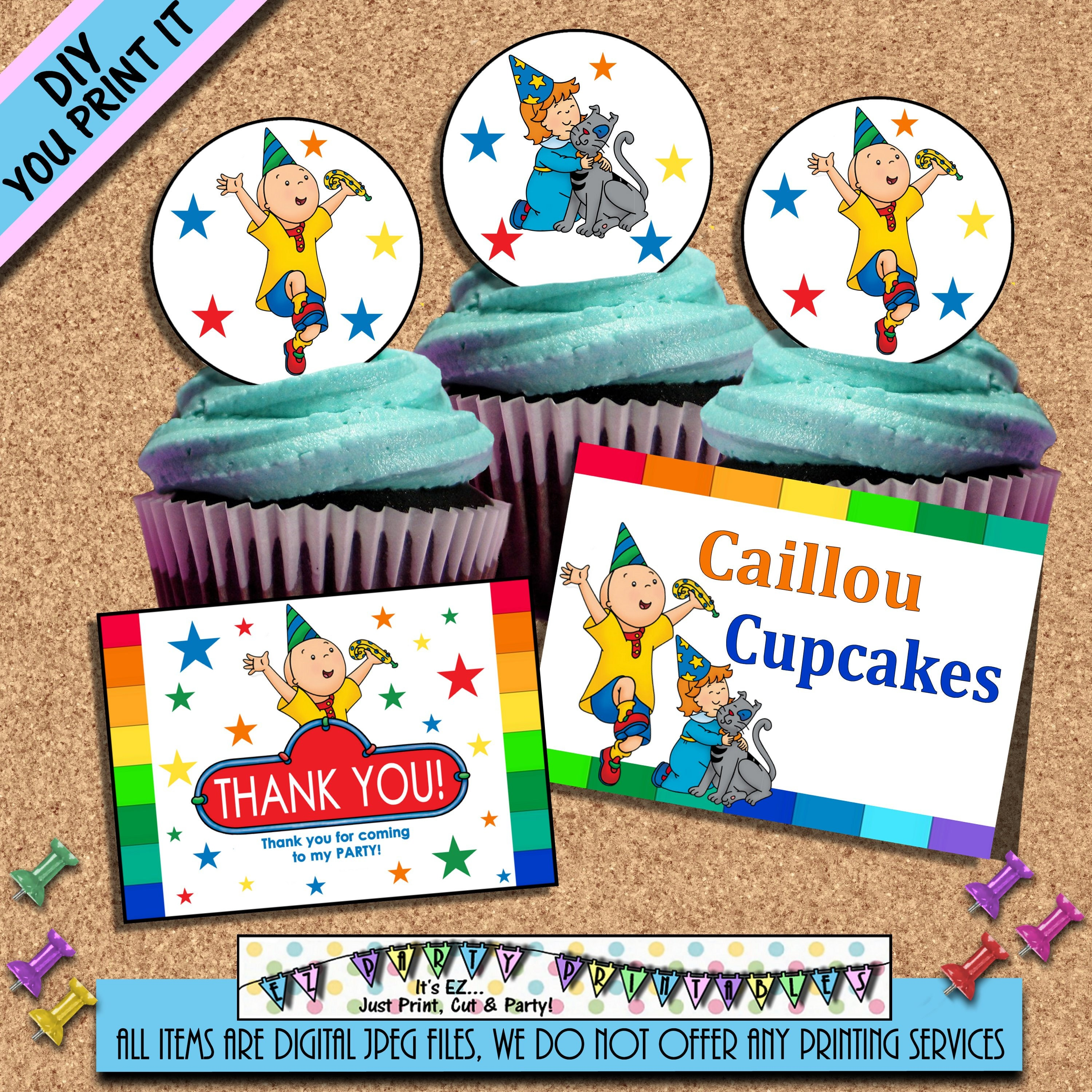 CAILLOU BIRTHDAY Food Tents Cupcake Toppers Favor Tags Caillou