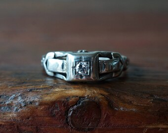 1920s 14K Art Deco Vintage European Cut Diamond Solitaire Ring in White Gold