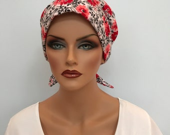 Krystal Women's Flannel Head Scarf, Cancer Hat, Chemo Scarf, Alopecia Head Cover, Head Wrap, Headwear for Hair Loss. - Red Floral