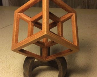 3D 4-Dimensional Tesseract Hypercube Wood Model with Stand