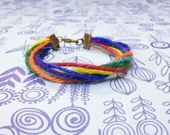 7 Chakra String Bracelet. Hemp Bracelet. yoga Gift. Meditation. Men. Women. Boys. Girls. Love Token.